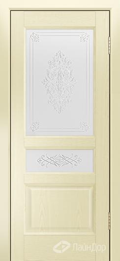 Двери ЛайнДор Калина К тон 42 стекло Дамаск золото на белом