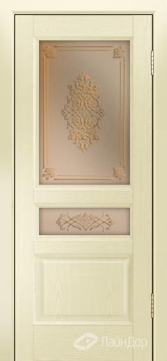 Двери ЛайнДор Калина К тон 42 стекло Дамаск золото на бронзе
