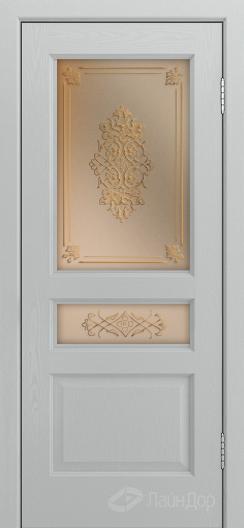 Двери ЛайнДор Калина К тон 46 стекло Дамаск золото на бронзе
