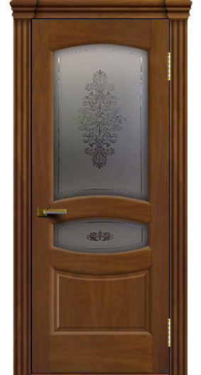 Дверь ЛайнДор Алина 2 американский орех 23 стекло Алина 2 капитель 3 эл.