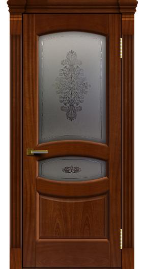 Дверь ЛайнДор Алина 2 красное дерево 10 стекло Алина 2 капитель 7 эл.