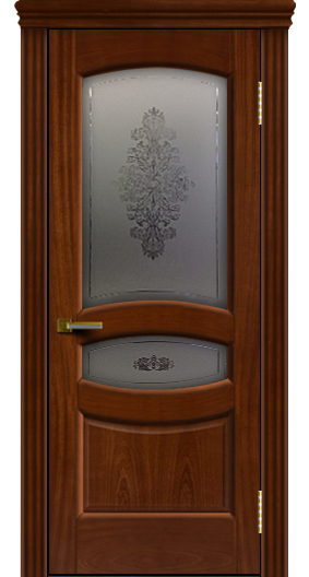 Дверь ЛайнДор Алина 2 красное дерево 10 стекло Алина 2 карниз