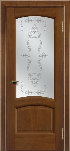 Двери ЛайнДор Анталия 2 американский орех тон 23 стекло Пальмира сатин