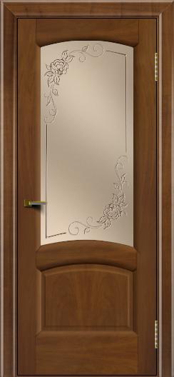Двери ЛайнДор Анталия 2 американский орех тон 23 стекло 3Д Роза бронза