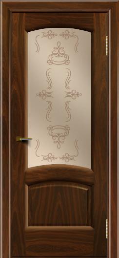 Двери ЛайнДор Анталия 2 американский орех тон 25 стекло Пальмира бронза