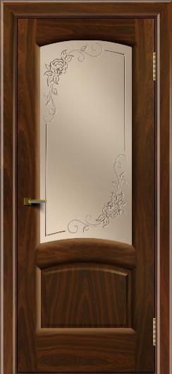 Двери ЛайнДор Анталия 2 американский орех тон 25 стекло 3Д Роза бронза