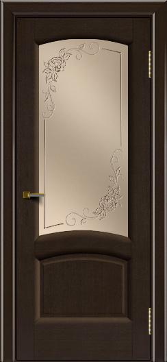 Двери ЛайнДор Анталия 2 венге тон 12 стекло 3Д Роза бронза
