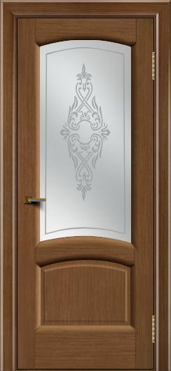 Двери ЛайнДор Анталия 2 дуб тон 5 стекло Айрис сатин
