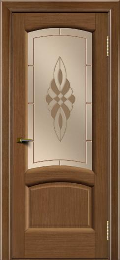 Двери ЛайнДор Анталия 2 дуб тон 5 стекло Византия бронза