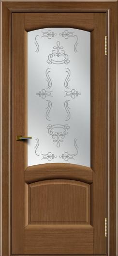 Двери ЛайнДор Анталия 2 дуб тон 5 стекло Пальмира сатин
