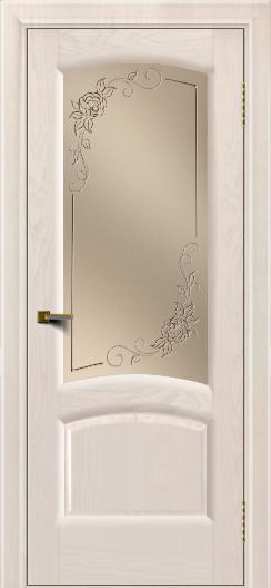 Двери ЛайнДор Анталия 2 жемчуг тон 27 стекло 3Д Роза бронза