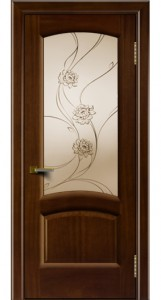 Дверь ЛайнДор Анталия 2 красное дерево стекло Астра
