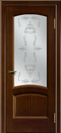 Двери ЛайнДор Анталия 2 красное дерево тон 10 стекло Пальмира сатин