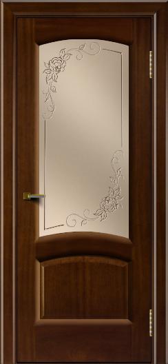 Двери ЛайнДор Анталия 2 красное дерево тон 10 стекло 3Д Роза бронза