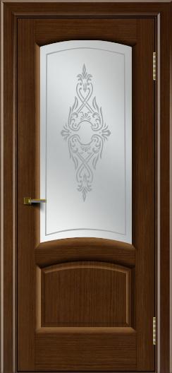 Двери ЛайнДор Анталия 2 орех тон 2 стекло Айрис сатин