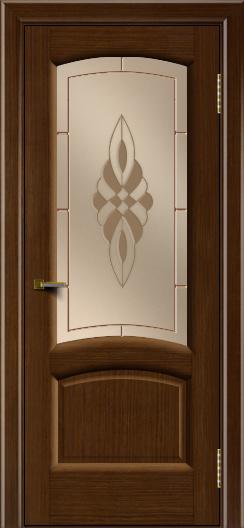 Двери ЛайнДор Анталия 2 орех тон 2 стекло Византия бронза