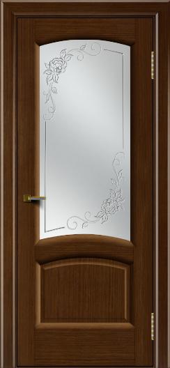 Двери ЛайнДор Анталия 2 орех тон 2 стекло 3Д Роза