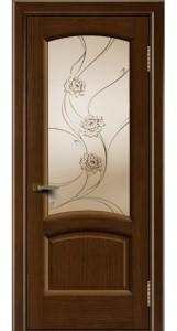 Дверь ЛайнДор Анталия 2 орех 2 стекло Астра