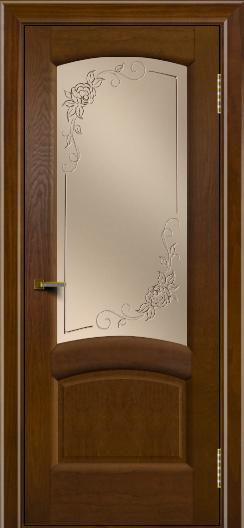 Двери ЛайнДор Анталия 2 тон 30 стекло 3Д Роза бронза