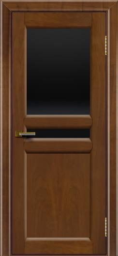 Дверь ЛайнДор Кристина 2 американский орех 23 верхнее черное стекло