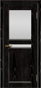 Дверь ЛайнДор Кристина 2 черная эмаль тон 26 верхнее белое стекло