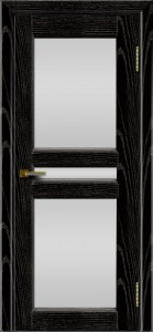 Дверь ЛайнДор Кристина 2 черная эмаль тон 26 полное белое стекло