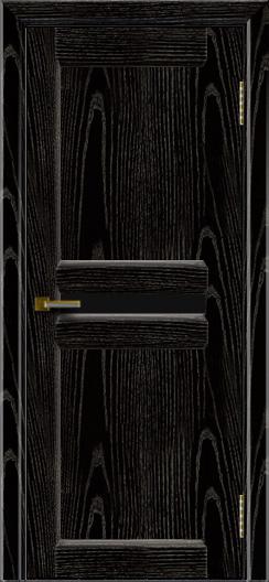 Дверь ЛайнДор Кристина 2 черная эмаль тон 26 черное малое стекло