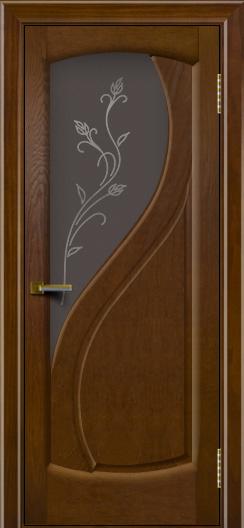 Дверь ЛайнДор Новый стиль орех 2 стекло Ирис