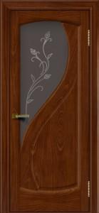 Дверь ЛайнДор Новый стиль красное дерево стекло Ирис