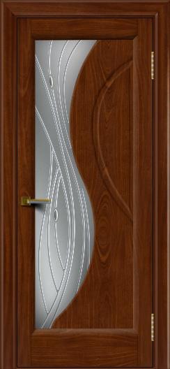Дверь ЛайнДор Прага 2 Красное дерево 10 стекло Волна