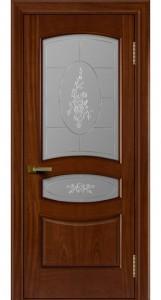 Двери ЛайнДор Алина красное дерево тон 10 стекло Роза