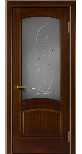 Двери ЛайнДор Анталия красное дерево тон 10 стекло Ковыль