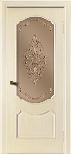 Двери ЛайнДор Богема беленый дуб тон 16 стекло Вива бронза