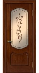 Двери ЛайнДор Богема красное дерево тон 10 стекло Бронза