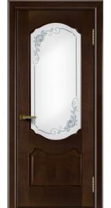Двери ЛайнДор Богема красное дерево тон 18 стекло 3Д Роза