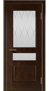 Двери ЛайнДор Калина красное дерево тон 18 стекло Лондон