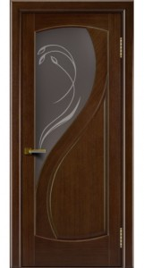 Двери Лайндор модель Новый стиль орех 2 стекло Новый стиль