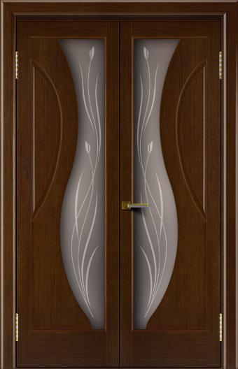 Двери Лайндор модель Прага орех 2 двойная стекло