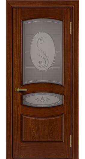 Двери ЛайнДор Алина красное дерево тон 10 стекло Алина бронза