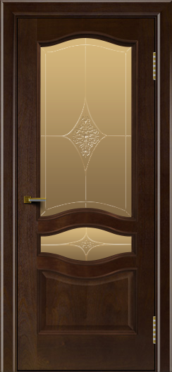 Двери ЛайнДор Амелия красное дерево тон 18 стекло Амелия бронза