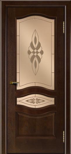 Двери ЛайнДор Амелия красное дерево тон 18 стекло Византия бронза