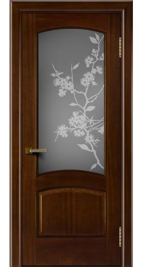 Двери ЛайнДор Анталия красное дерево тон 10 стекло Сакура