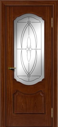 Двери ЛайнДор Богема красное дерево тон 10 стекло Белое