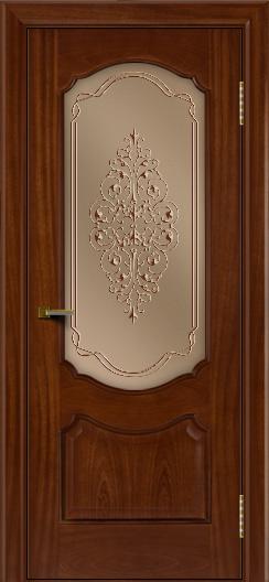 Двери ЛайнДор Богема красное дерево тон 10 стекло Вива бронза