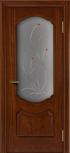 Двери ЛайнДор Богема красное дерево тон 10 стекло Ковыль