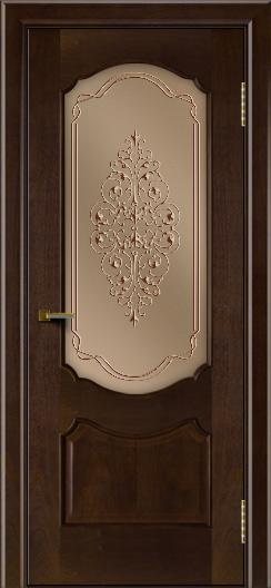 Двери ЛайнДор Богема красное дерево тон 18 стекло Вива бронза