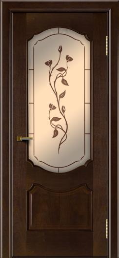 Двери ЛайнДор Богема красное дерево тон 18 стекло Маки