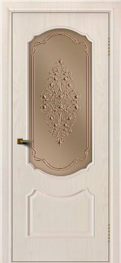 Двери ЛайнДор Богема ясень жемчуг тон 27 стекло Вива бронза