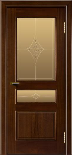 Двери ЛайнДор Калина красное дерево тон 10 стекло Гелиос