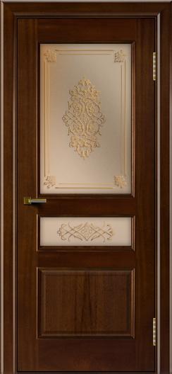Двери ЛайнДор Калина красное дерево тон 10 стекло Дамаск бронза 2
